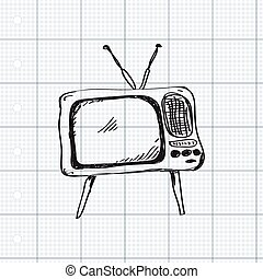 Simple doodle of a television - Simple hand drawn doodle of...