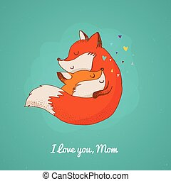 Fox, cute, lovely illustration and greetin card, Mothers day...