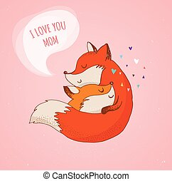 Fox, cute, lovely illustration and greetin card, Mother's...