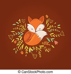 Fox, cute, lovely illustration and greetin card - Fox...