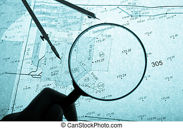 surveyor\'s plan, circle and loupe with backlight