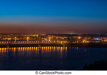 City with dam - Panorama of city Tolyatti at night with...
