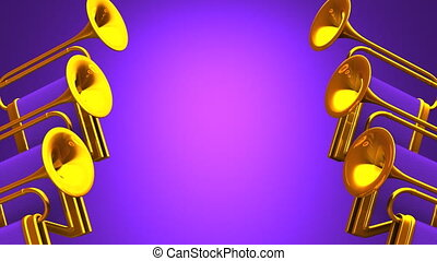 Fanfare On Purple Background. Loop able 3D render Animation....
