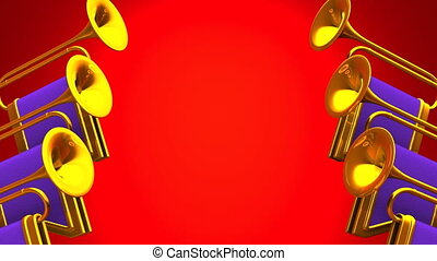 Fanfare On Red Background.