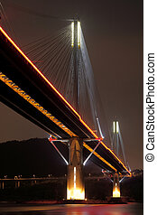 Ting Kau Bridge at night, in Hong Kong