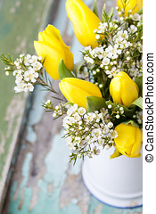 Bouquet of yellow tulips and daffodils