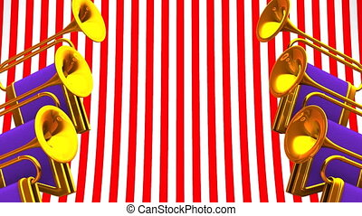 Fanfare On Red White Background Loop able 3D render...