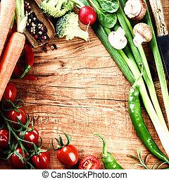 概念, 吃, 蔬菜, 健康, 框架, 新鮮, 有机