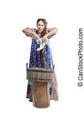 mulher, lavando, roupas