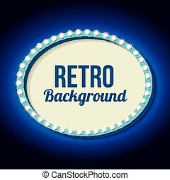 Retro frame circle with neon lights - Oval frame with blue...