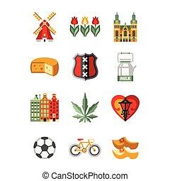 Netherlands Symbols and Landmarks Vector Illustration Set