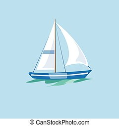 Sailboat on the Water. Vector Illustration