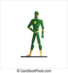 Superhero Wearing Green Suite Vector Illustration - Male...