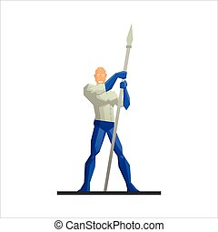 Superhero with a Spear Vector Illustration