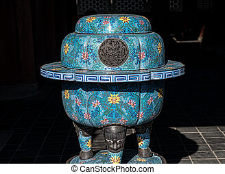Ancient pot, used for fire prevention in a palace, Seoul, Korea.