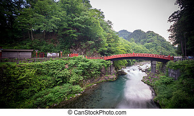 Long exposure of Shinkyo Bridge in Nikko, Japan. Wide angle...