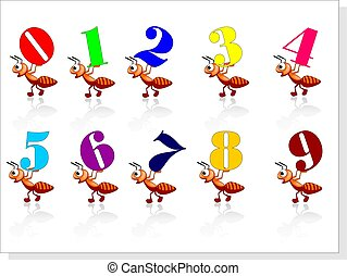 Number and ants - Illustration of Number and ants