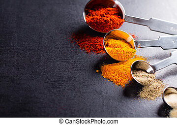 Spices in stainless steel measuring spoons with copy space.