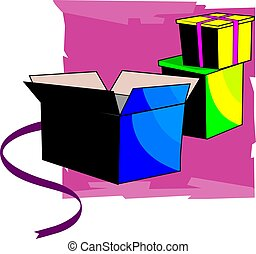 gift boxe - Illustration of three gift boxes and ribbons