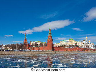 Moscow Kremlin on a clear sunny winter day, the view from...
