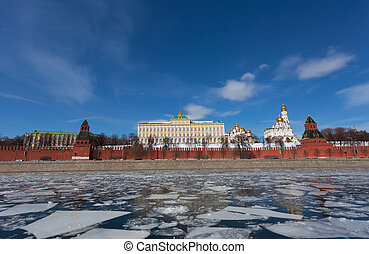 View of the Moscow Kremlin on a sunny winter day, Russia