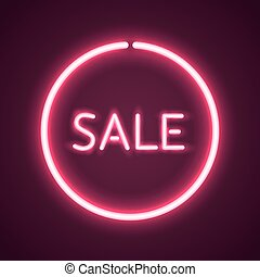 Sale glowing neon sign.