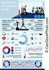 Gym Workout Infographics - Gym workout infographics set with...