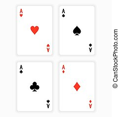 Four Aces Playing Cards on White Background - High Angle...
