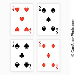 Playing Cards Showing Fives from Each Suit - High Angle View...