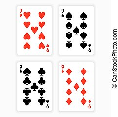 Playing Cards Showing Nines from Each Suit - High Angle View...