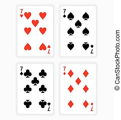 Playing Cards Showing Sevens from Each Suit - High Angle...