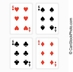 Playing Cards Showing Sixes from Each Suit - High Angle View...