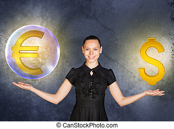 Woman holding euro sign in bubble and dollar - Busineswoman...