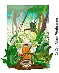 Colorful Tropical Forest Landscape Poster