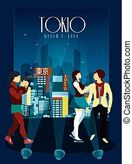 Tokyo Night Life Poster - Tokyo night life poster with...