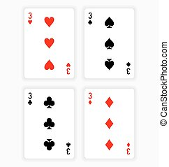 Playing Cards Showing Threes from Each Suit - High Angle...