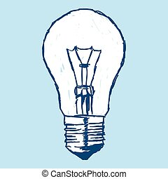Incandescent Bulb Over Blue - Single incandescent bulb...