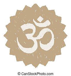 Gold Om Symbol - Golden Om symbol illustration over white...