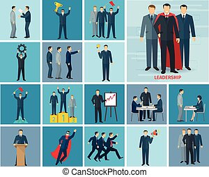 Leadership And Success Icons Set - Leadership and success...