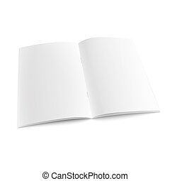Blank open magazine template with staples. - Blank open...