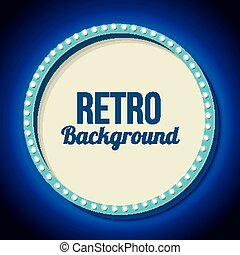 Retro frame circle with neon lights - Blue round retro frame...