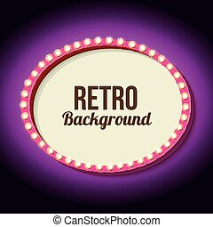 Retro frame circle with neon lights - Retro frame with neon...