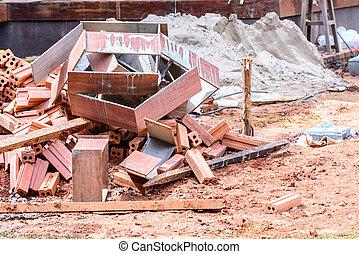 Scrap materials at construction site.