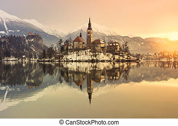 Amazing sunrise at the lake Bled in winter, Slovenia, Europe