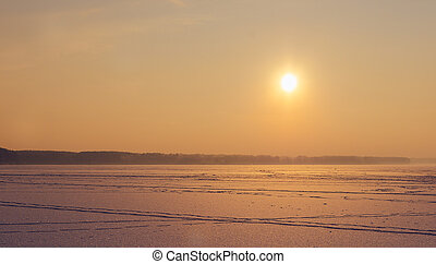 Sunset On The Lake - Beautiful sunset on the frozen lake in...