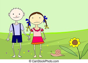 children in green colour background