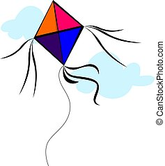 kite - Illustration of kite with colour