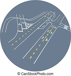 Vector road markings. road junction