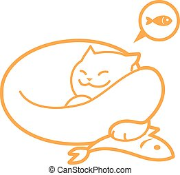 Vector outline sleeping cat, with fish