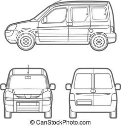 Vector outline minivan